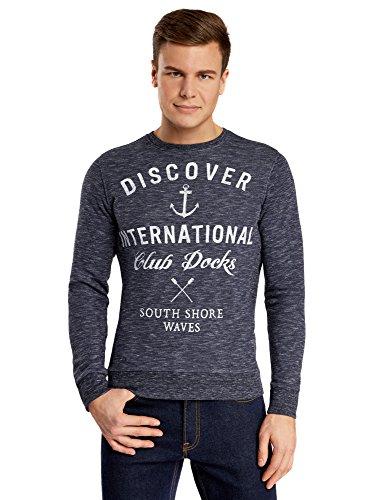 oodji Ultra Herren Melangesweatshirt mit Druck Blau (7912P)