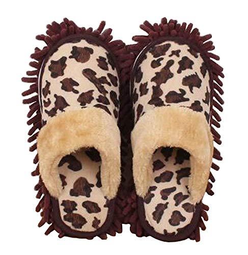Blancho Bedding [Leopard] Kreative Nützliche Mop Hausschuhe Boden Reinigung Hausschuhe