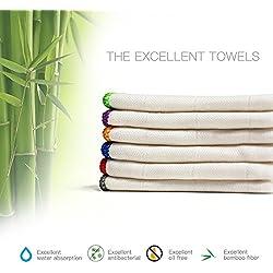 100% Bambus-Küchenhandtücher (6er Pack) Weiße Waschlappen Geschirrtücher, Reinigungstücher & Abwaschlappen 30 x 30 cm (12 x 12 Zoll), Ultraabsorbierend, besser als Baumwolle