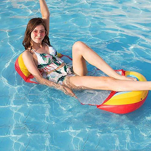 JanTeel Aufblasbares Schwimmendes Bett, Verbesserte Sommerluft Sofa Wasser Hängematten Ruhesessel Floss Matten im Freien, Erwachsene Swimmingpool Strand Entspannende Pool Partei (Regenbogen)