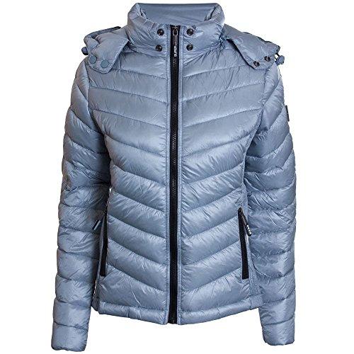 Superdry Jacke Damen LUXE CHEVRON FUJI Metal Grey, Größe:M (Fuji Jacke)