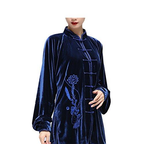 KIKIGOAL Handarbeiten Tai Chi Anzug mit Stickerei Kung Fu Uniformen Kampfsport Für Damen Samt Chinoiserie Für Herbst und Winter (Dunkelblau, XL)