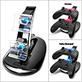 Microware Dual USB Charging Station Led Light Fast Two Charge Dock Stand with USB Charge Cable for Xbox One Gaming Controllers