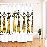 LB Ethnischer Afrika-Duschvorhang,Afroamerikanische Frauen Geschichte KulturBadezimmer-Dekor,Anti-Schimmel-Wasser-beständiges gesundes Polyester-Gewebe-Vorhang-Set,180x200cm