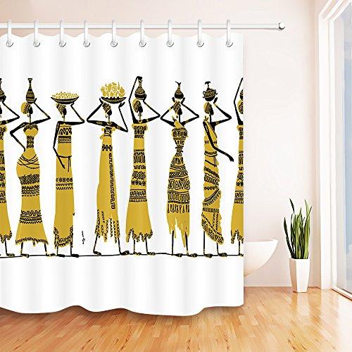 Ethnischer Afrika-Duschvorhang,Afroamerikanische Frauen Geschichte KulturBadezimmer-Dekor,Anti-Schimmel-Wasser-beständiges gesundes Polyester-Gewebe-Vorhang-Set,180x200cm