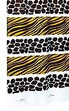 Duschvorhang Textil Waschbar mit Ringen Savana in Weiß mit Braunem Safarimotiv Zebra und Giraffe, Größe: ca. 120x200 cm