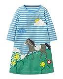 Minetom Minetom Mädchen Herbst Langarm Kleider Tiere Cartoon Mustern Fuchs Kleid Casual Hemd Dress Hellblau 140