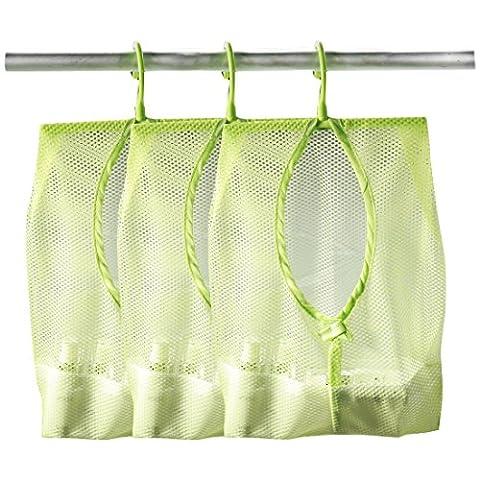 Andux Zone 3pcs Colorful Hanging Mesh Bag, salle de bains Douche Storage Organizer Set Hamper Bag Closet rack vêtements clip Collection Sac SNWD-01 Vert