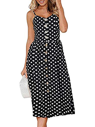 Women's Dress Summer Spaghetti Strap Sundress Casual Floral Midi Backless Button Up Swing Dresses with Pockets S-3XL -