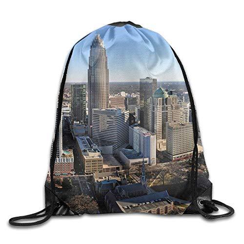 HLKPE Charlotte, NC Skyline Gym Beam Port Drawstring Shoulder Travel Canvas Backpack Bag