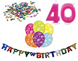 Happy Birthday 40 Geburtstag Deko-Set Girlande 6x-Ballons Geburtstags-Kerzen Konfetti