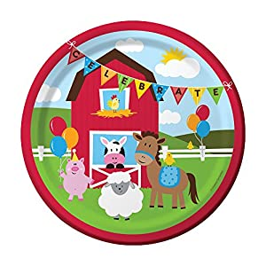 """Creative Converting Farmhouse Fun Sturdy Style Paper Dinner Plates (8 Count), 8.75"""""""