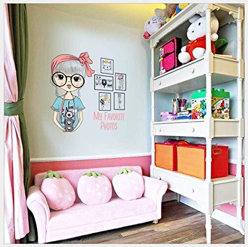 Zipei Große Brille Mädchen Fotorahmen Schlafzimmer Studie Schlafsaal Wanddekoration Wandaufkleber Wandbild 57X53 cm