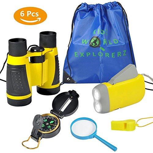 Kit de Binoculares para niños - Binoculares para Niños Linterna de Manivela Brújula Lupa Silbato y Mochila con Cordones Juguetes de Exploración 6uds(amarillo)