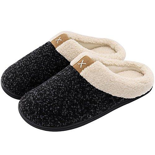 VeraCosy Komfortable Herren Memory Foam Hausschuhe, wollähnliche Plüschflausch gefütterte Pantoffeln mit Gummisohle für Drinnen und DraußenGr.46/47 EU-Tiefes Schwarz