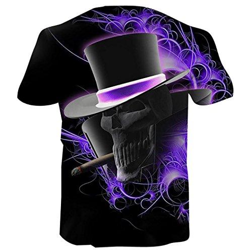 3-knopf-v-neck (BA Zha Hei Jungen Männer Plus Größe 3D Printed Realistische Pullover Kurzarm Männer Druck Tees Shirt Kurzarm Bluse Basic Rundhals-Ausschnitt Kurzarm Regular T-Shirt Tops T Bluse (L, Lila))
