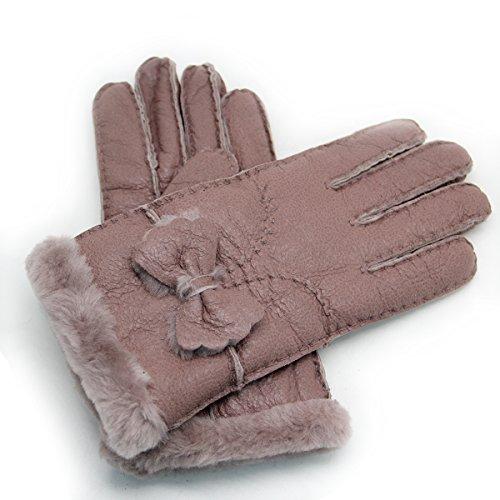 YISEVEN Damen Shearling Winterhandschuhe mit Warm Gefüttert Winter Lammfell Leder Autofahrer Handschuhe, Rubine S