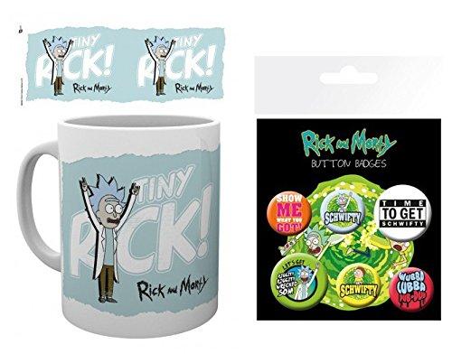 Set: Rick Y Morty, Tiny Rick, Pequeño Rick Taza Foto (9x8 cm) Y 1 Rick Y Morty, Set De Chapas (15x10 cm)