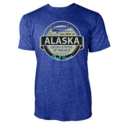 Sinus Art ® Herren T Shirt Welcome To Alaska ( Heather_Blue ) Crewneck Tee with Frontartwork (Tee Alaska)