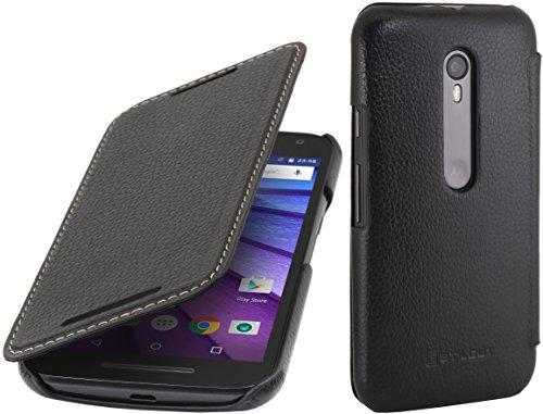 StilGut Book Type Case, Hülle aus Leder für Motorola Moto G (3. Gen.), schwarz