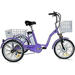 """Jorvik 26""""plegable eléctrico triciclo 36V 250W adultos triciclo/triciclo con discapacidad/carga/E, morado"""