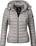 Marikoo Damen Übergangs-Jacke Steppjacke EIN Und Alles (vegan hergestellt) Grau Gr. XL