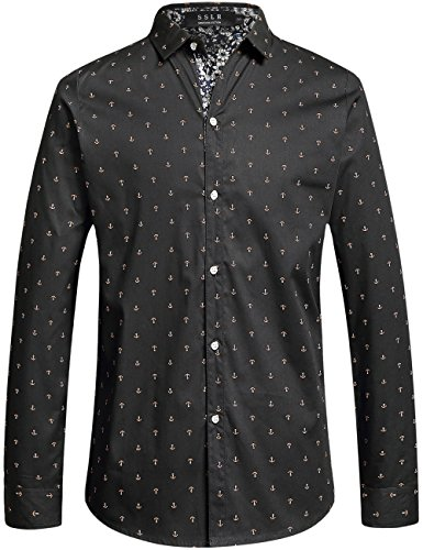 SSLR Uomo Camicie Slim Fit Button Down Manica Lunga Casual Stile Anchor Stampato Nero