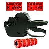 Set: Preisauszeichnungsgerät Jolly H6 für 21x12 RE inkl. 5.000 HUTNER Preisetiketten - leucht-rot permanent - Aufdruck: Sonderpreis   HUTNER