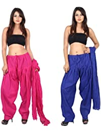 TEEJ New Women's Solid Cotton Punjabi Patiala Salwar With Dupatta Combo Pack Of 02 Pcs - B073GRNLH1