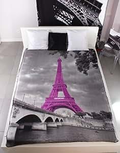 Couvre-lit Couverture Paris Eiffel Violet Tower türm Gris Couverture 150x 200cm