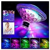 Caxmtu schwimmende LED-Badewannen-Beleuchtung, Unterwasserlampe für das Badezimmer, Disco-Effekt, für Teich und Schwimmbad, Kinder-Badespielzeug, mit 7Modi, verschiedene Farben- batteriebetrieben