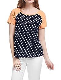 Allegra K Women's Raglan Sleeves Contrast Color Paneled Polka Dot Tee