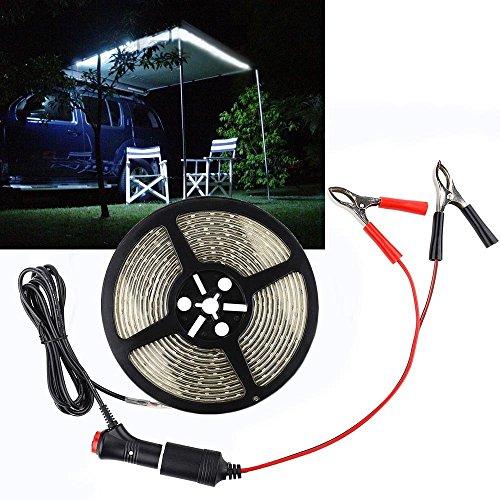 Seil Lichter für Auto LED weiß Farbe hohe Helligkeit IP67 wasserdicht Outdoor Camping Lichter mit 12V Zigarettenanzünder Clip-on für Wohnmobil Lichter (16.4FT / 5M, Tag weiß)