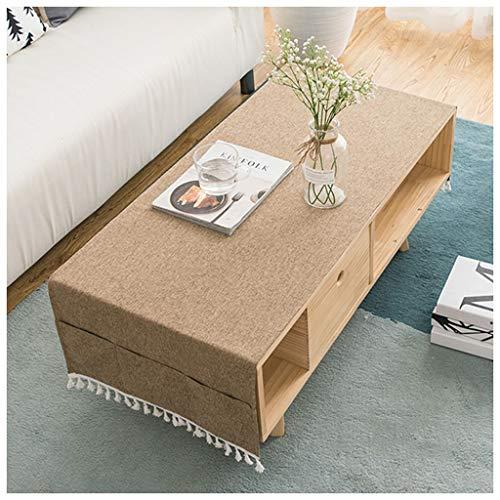 MEIMEI Nappes de Table Basse en Coton et Lin rectangulaire Moderne en Tissu de Couleur Unie avec Nappe en Lin (Color : Brown, Taille : 50X150CM)