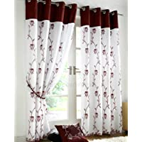 "Just Contempo Lined Voile 2377 - Cortinas con estampado floral (con ojales), poliéster, granate y blanco, Curtain Pair 56"" x 54"""