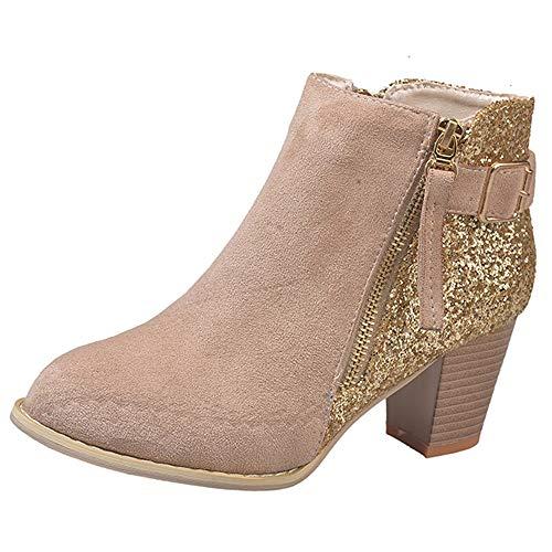 VECDY Damen Stiefeletten,Schuhe Stiefel Booties Mode Runde Spitze Hohe Dicke Stiefeletten High Heels Seitlicher Reißverschluss Mischfarben Frauen Stiefel - Kors Grün-michael Mantel