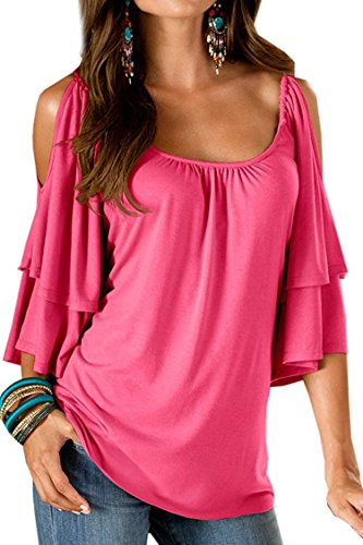 dc421ad7d69c BienBien Donna Maglietta Elegante Estivo T Shirt Spalle Scoperte Moda Bluse  con Volant Camicie Manica Corta