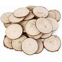 Omeny 25Pcs de Madera Madera Pino troncos de troncos de discos naturales de la tabla de corteza de árboles decorativos