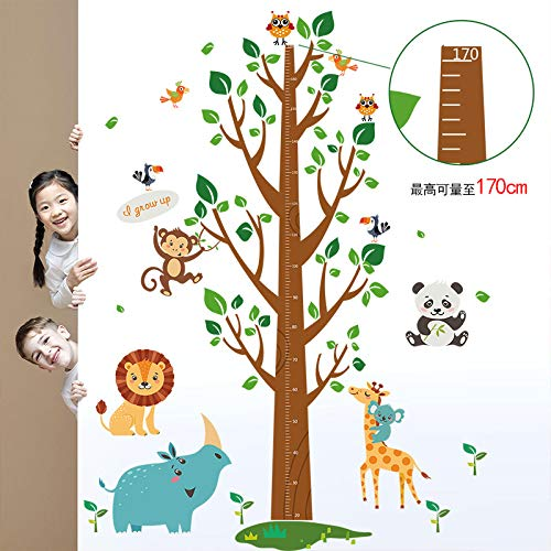 Sticker mural Dessin animé Animal Arbre Grandir Hauteur Mesure Règle Maternelle Pépinière Enfants Chambre Enfants Amovible Stickers Muraux Decal Decor A