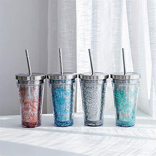 Stroh Pillendose (WJVCZ 550 ml doppelwandiger Kunststoff-Edelstahlbecher mit Deckel und Trinkflasche aus Stroh Trinkbecher aus Edelstahl (blau))