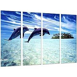 Cuadro Moderno Fotografico Animal Delfines Saltando en el Mar, Oceano, 131 x 63 cm, ref. 26872