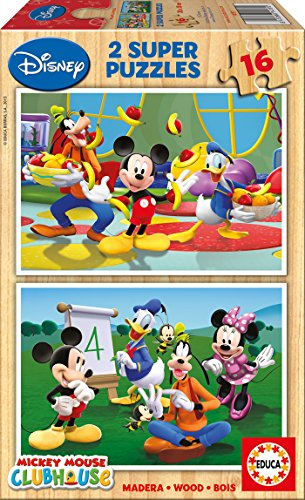 Educa 14181 Disney Micky Maus Clubhaus, 2 x 16 Holzpuzzle Mickey-mouse-holz-puzzle