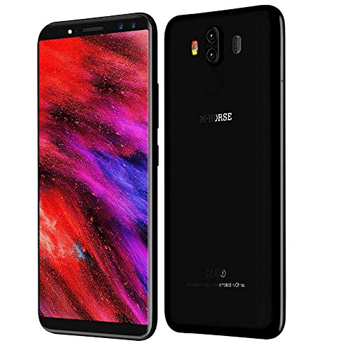Smartphone ohne Vertrag M-horse Pure 3 Dual Sim Smartphone (5.7 Zoll HD 18 : 9 Display, 4GB Ram, 64GB Speicher, 13MP + 5MP Dual HauptKameras, Android 7.1 Helio P23 MTK6763 Octa Core 2.0 GHz, 4000 mAh Akku, Handy mit Fingerabdrucksensor)