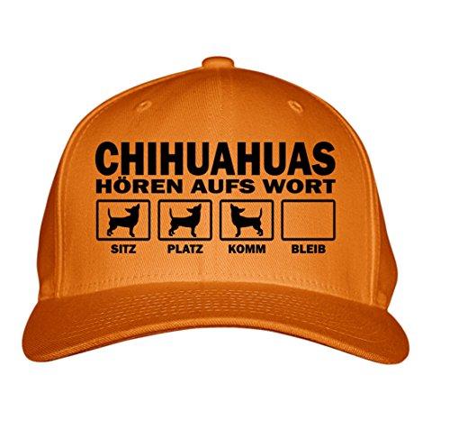 HUAHUA mexiko klein LANGHAAR Kurzhaar (Chiwawa) - HÖREN aufs WORT - Baumwoll 6-Panel orange (Mexiko-baseball-cap)