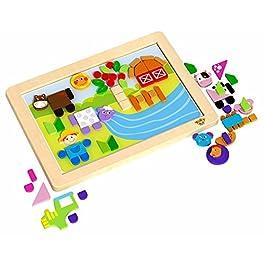 Tooky Toy – Lavagna magnetica con fogli di sfondo intercambiabili – Fattoria e animali