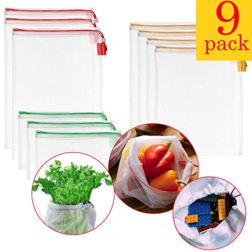 NBRELL Wiederverwendbare Gemüsebeutel, Umweltfreundliche Einkaufstaschen,umweltfreundliche Einkaufstaschen waschbar Einkaufsbeutel langlebig robust doppelt genähte Gemüsenetz Zero-Waste (9pcs)