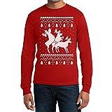 Rehntier Dreier Weihnachts Reindeer Langarm Männer T-Shirt Large Rot