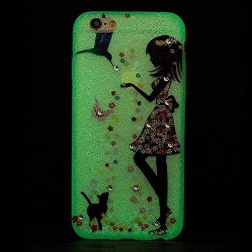 iPhone 6 Plus Hülle,iPhone 6S Plus Hülle Glitzer Bling Crystal Flüssig Fließend Wasser Hard Plastik Gel Schutzhülle,EMAXELERS Stoßdämpfend Hülle für iPhone 6 Plus / iPhone 6S Plus,iPhone 6S Plus Hülle P Luminous TPU 1
