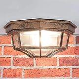 Nostalgische Deckenleuchte für Außen Außenlampe in Kupfer antik / IP44 / Aludruckguss & Glas / E27 bis 60W / rustikale Leuchte Deckenlampe Hof Garten Terrasse