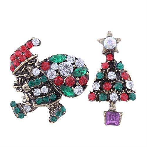 YAZILIND Schmucksache Weihnachtssatz Frauen Zusätze Weihnachtsmann Baum Rhinestones-Legierungsbrosche für (Ziel Kostüm Weihnachtsmann)
